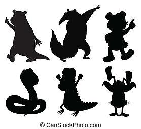 silhouette, animali, ballo