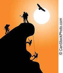 silhouette, arrampicatori, roccia