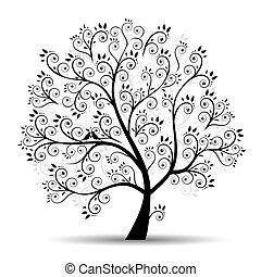 silhouette, arte, albero, bello, nero