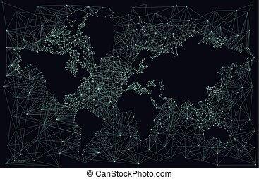 silhouette, astratto, mappa, fondo, mondo, fractal