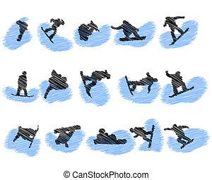 silhouette, atleta, set, grunge, snowboard