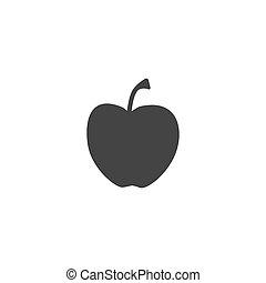 silhouette, backround, .vector, eps, nero, 10, illustrazione, bianco, mela