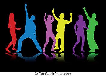 silhouette, ballo, colorito, persone