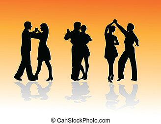 silhouette, ballo, couples