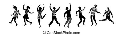 silhouette, ballo, gruppo, persone