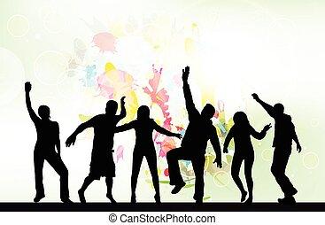 silhouette, ballo, persone fondo