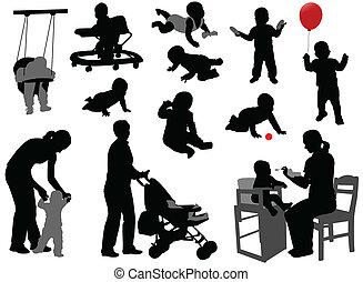 silhouette, bambini, bambini primi passi