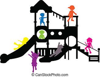 silhouette, bambini, campo di gioco