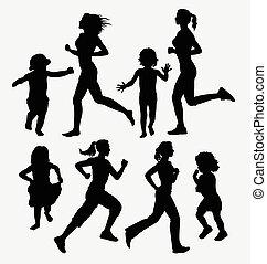 silhouette, bambini correndo, ragazza