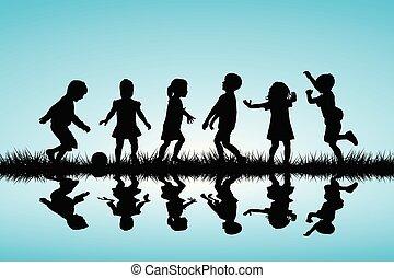 silhouette, bambini, esterno, gioco