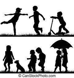 silhouette, bambini giocando