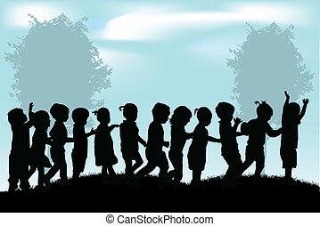 silhouette, bambini, gruppo