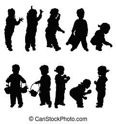 silhouette, bambini, illustrazione, felice