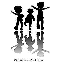 silhouette, bambini, isolato, fondo, bianco