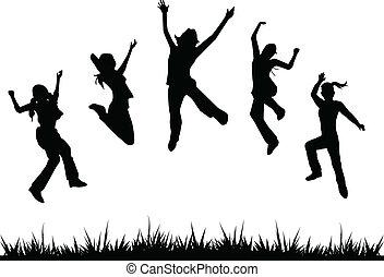 silhouette, bambini, saltare