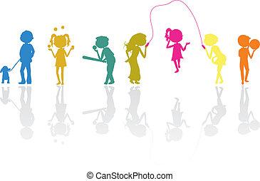 silhouette, bambini, sport, attivo