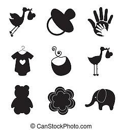 silhouette, bambino, articoli