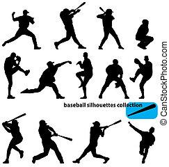 silhouette, baseball, collezione
