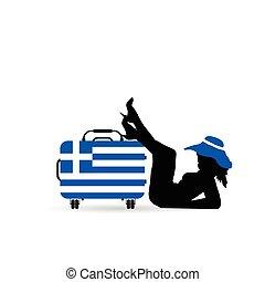 silhouette, borsa, viaggiare, esso, illustrazione, bandiera greca, bella ragazza