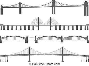 silhouette, bridges., differente