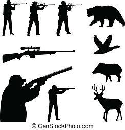 silhouette, caccia