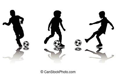 silhouette, calcio, bambini