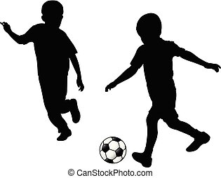 silhouette, calcio, gioco, bambini