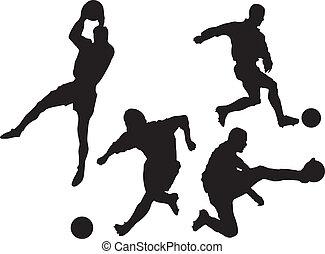 silhouette, calcio, set