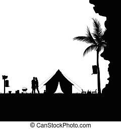silhouette, campeggio, natura, coppia, illustrazione, dietro, scogliera