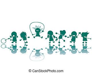 silhouette, campo di gioco, bambini