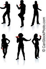 silhouette, cantanti, collezione