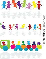 silhouette, cartone animato, bambini