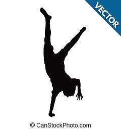 silhouette, cartwheels, bambino