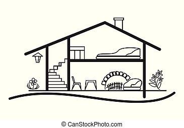 silhouette, casa, -, vettore, interno, piano, aperto