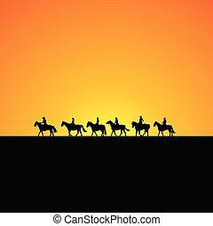 silhouette, cavallo, alba, cavalieri