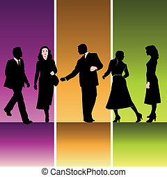 silhouette, cinque, businesspeople