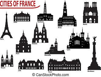 silhouette, città, francia