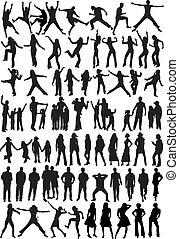 silhouette, -, collezione, persone