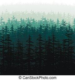 silhouette, colline, foresta, astratto, wood., illustration., natura, vettore, fondo, orizzontale, carta da parati, albero, coperto