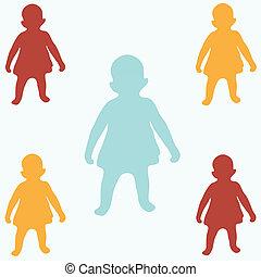 silhouette, colorato, bambini