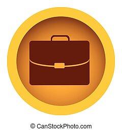 silhouette, colore briefcase, cornice, esecutivo, giallo, circolare, icona