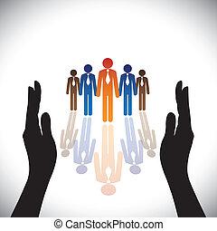 silhouette, concept-, ditta, secure(protect), mano, personale, corporativo, o, funzionari