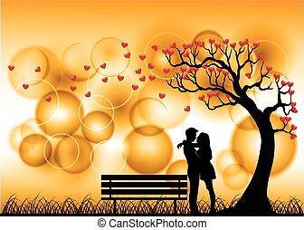 silhouette, coppia, datazione, amore, sotto
