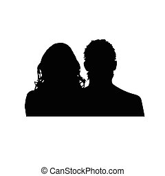 silhouette, coppia, nero, illustrazione