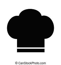 silhouette, cottura, illustrazione, chef, vettore, fondo, cappello bianco, icona