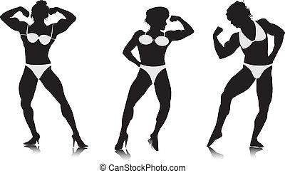 silhouette, culturista, giovani donne
