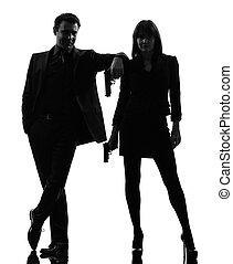silhouette, detective, segreto, uomo, coppia, donna, criminale, agente