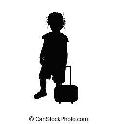 silhouette, dolce, viaggiare, illustrazione, borsa, bambino