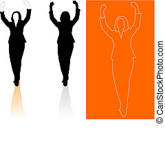 silhouette, donna, giovane, affari