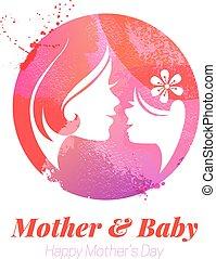 silhouette, effetto, illustrazione, acquarello, vettore, madre